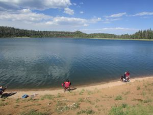 (Tom Wharton | The Salt Lake Tribune) Utah's Navajo Lake, pictured here in 2016, is a popular fishing destination, but it has become overrun with chub, a non-sport fish native to Utah. Now state fisheries officials plan to poison all the fish in the lake this fall to create a chub-free trout fishery.
