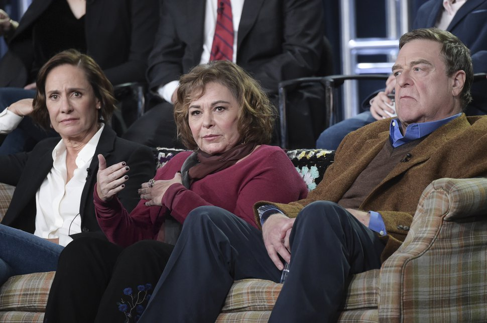 FILE - In this Jan. 8, 2018 file photo, Laurie Metcalf, from left, Roseanne Barr and John Goodman participate in the