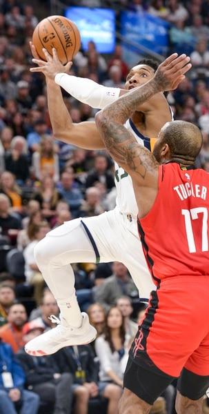 (Leah Hogsten   The Salt Lake Tribune) Utah Jazz guard Donovan Mitchell (45) hits the net. The Utah Jazz host the Houston Rockets at Vivint Arena, Feb. 22, 2020.