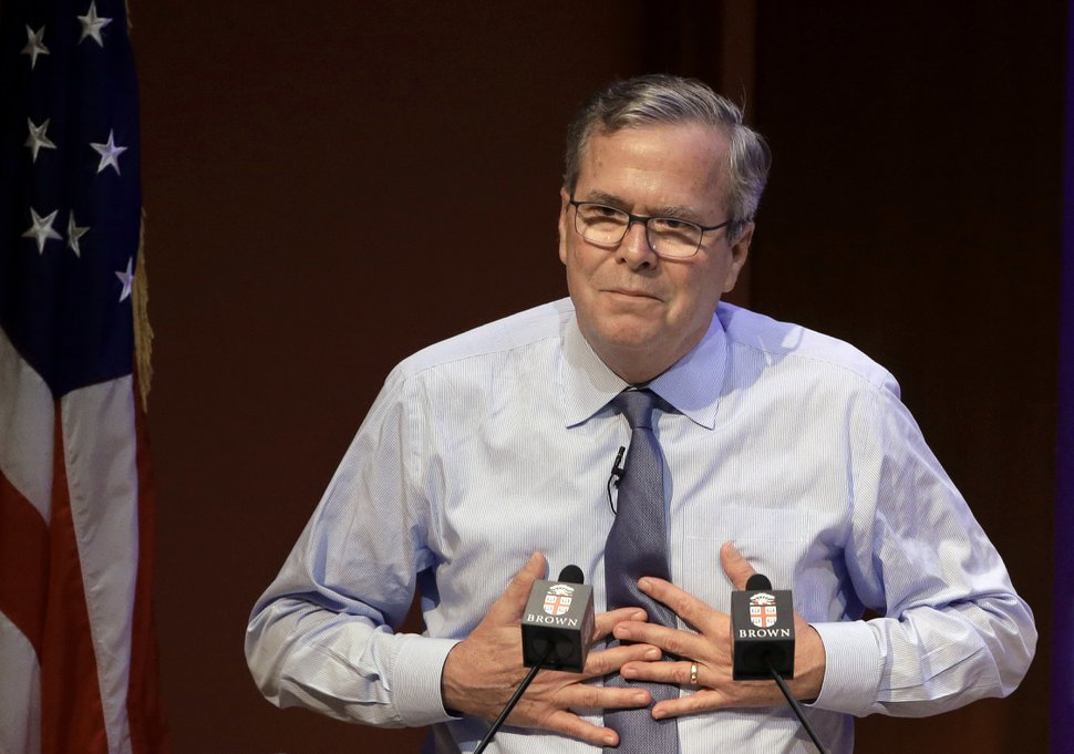 Former Florida Gov. Jeb Bush addresses an audience Wednesday, April 25, 2018, on the campus of Brown University, in Providence, R.I. Bush, a former presidential candidate, opened with remarks about his mother, former first lady Barbara Bush, who died Tuesday, April 17, 2018 at age 92 at her home, in Houston. (AP Photo/Steven Senne)