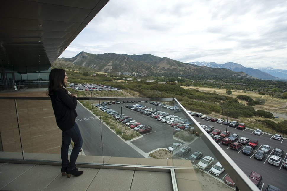 (Rick Egan | The Salt Lake Tribune) Employees have a great view of the valley form the west patio at BioFire Diagnostic at Research Park. BioFire Diagnostic is one of the top performing companies in the Top Workplaces competition,Thursday, September 28, 2017.