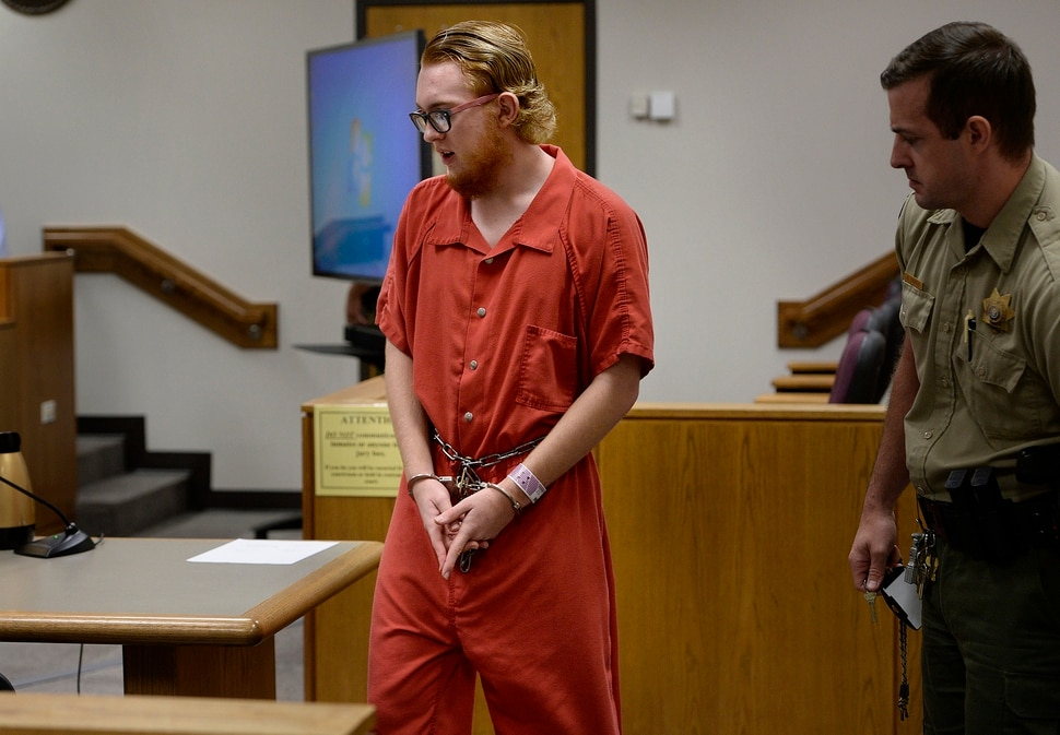 (Scott Sommerdorf   The Salt Lake Tribune) Defendant Tyerell Joe Przybycien, 18, of Spanish Fork, returns to court following a break that was taken after the video showing the hanging death was shown during his preliminary hearing, Wednesday, August 23, 2017. Przybycien is charged with first-degree felony murder for buying items used by a 16-year-old girl to hang herself on May 5 in Utah County. Przybycien also recorded the girl's death, according to charges.