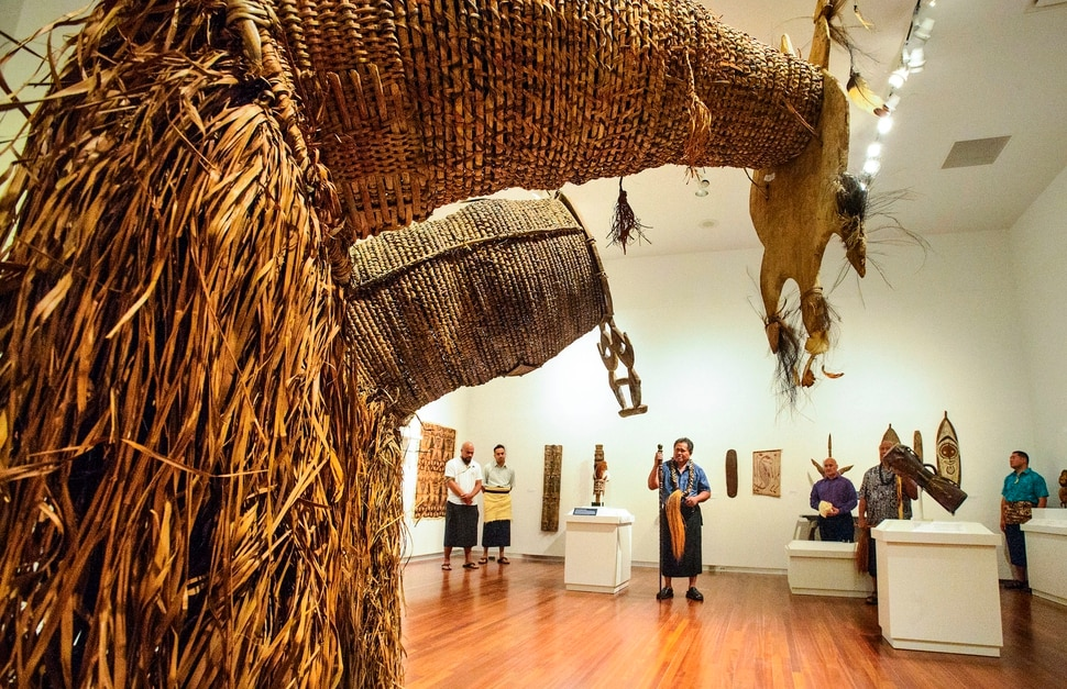 (Steve Griffin | The Salt Lake Tribune) High Talking Chief Namulauulu Tavan joins members of Salt Lake City's Pacific Islander community as he blesses the Arts of the Pacific gallery in the newly renovated Utah Museum of Fine Arts on the University of Utah campus in Salt Lake City Tuesday August 8, 2017. Elders from the local Maori and Samoan communities performed ceremonial dances, chants and oration to welcome the objects back on view and to thank Museum staff for continued care of their cultural objects.