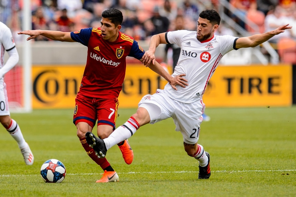 (Trent Nelson | The Salt Lake Tribune) Real Salt Lake forward Jefferson Savarino (7) and Toronto FC midfielder Jonathan Osorio (21) as Real Salt Lake hosts Toronto FC, MLS Soccer at Rio Tinto Stadium in Sandy on Saturday May 18, 2019.