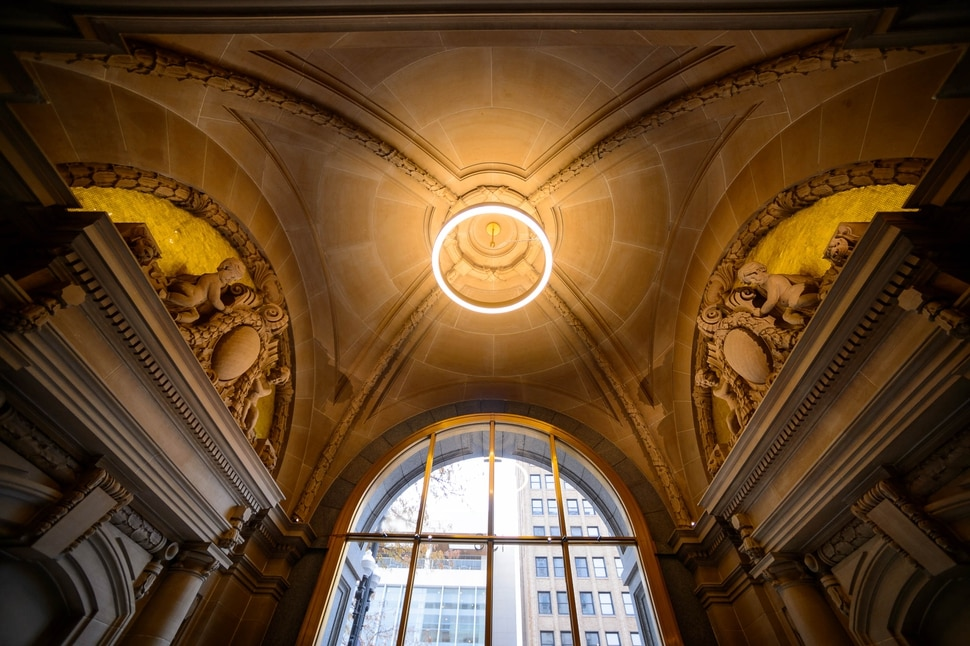(Trent Nelson   The Salt Lake Tribune) The ceiling in the entryway of the Kearns Building in Salt Lake City on Wednesday, Nov. 20, 2019. Hines, the global real estate firm that owns the Kearns Building, has launched a $25 million renovation of the 108-year-old building at 136 South Main Street.