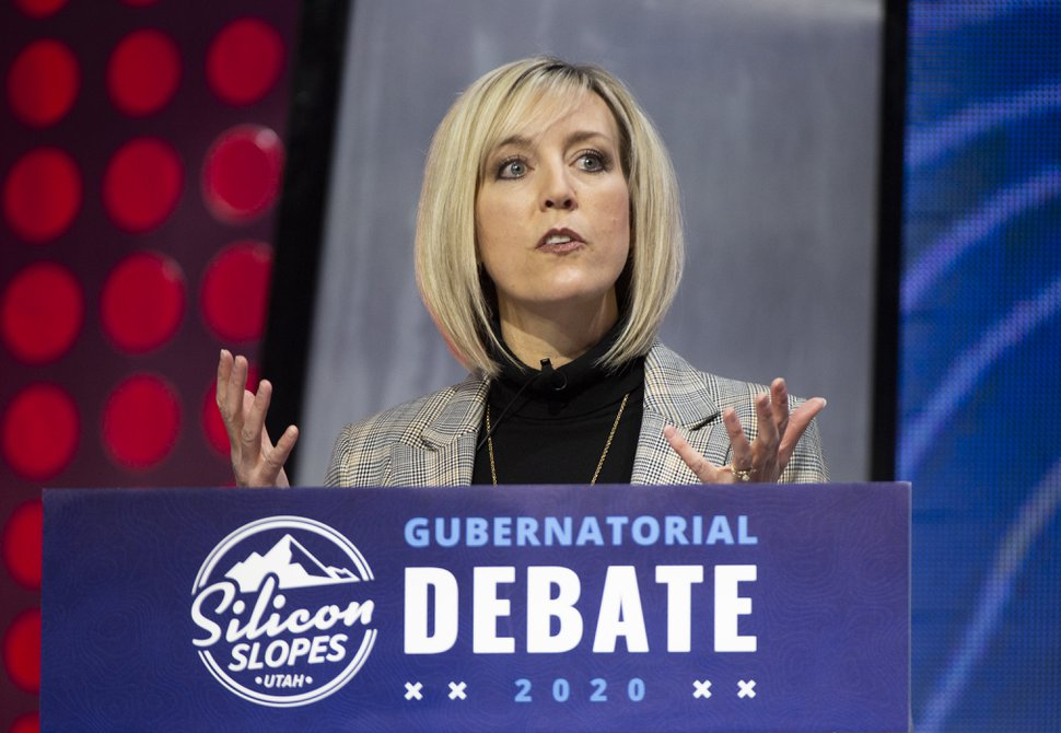 (Rick Egan | The Salt Lake Tribune) Salt Lake County Councilwoman Aimee Winder Newton answers a question during the gubernatorial debate at the 2020 Silicon Slopes Tech Summit, at the Salt Palace Convention Center, Friday, Jan. 31, 2020.