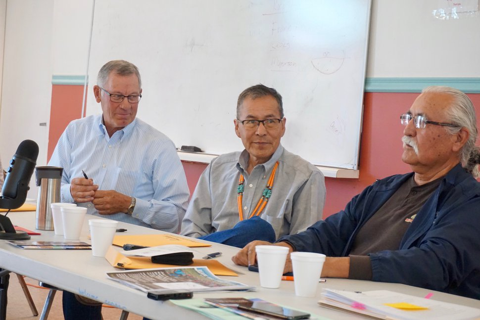 (Zak Podmore | The Salt Lake Tribune) San Juan County Commissioners Bruce Adams (left), Kenneth Maryboy, and Willie Grayeyes preside over the commission meeting in Oljato-Monument Valley, Utah, on Tuesday, July 2, 2019.