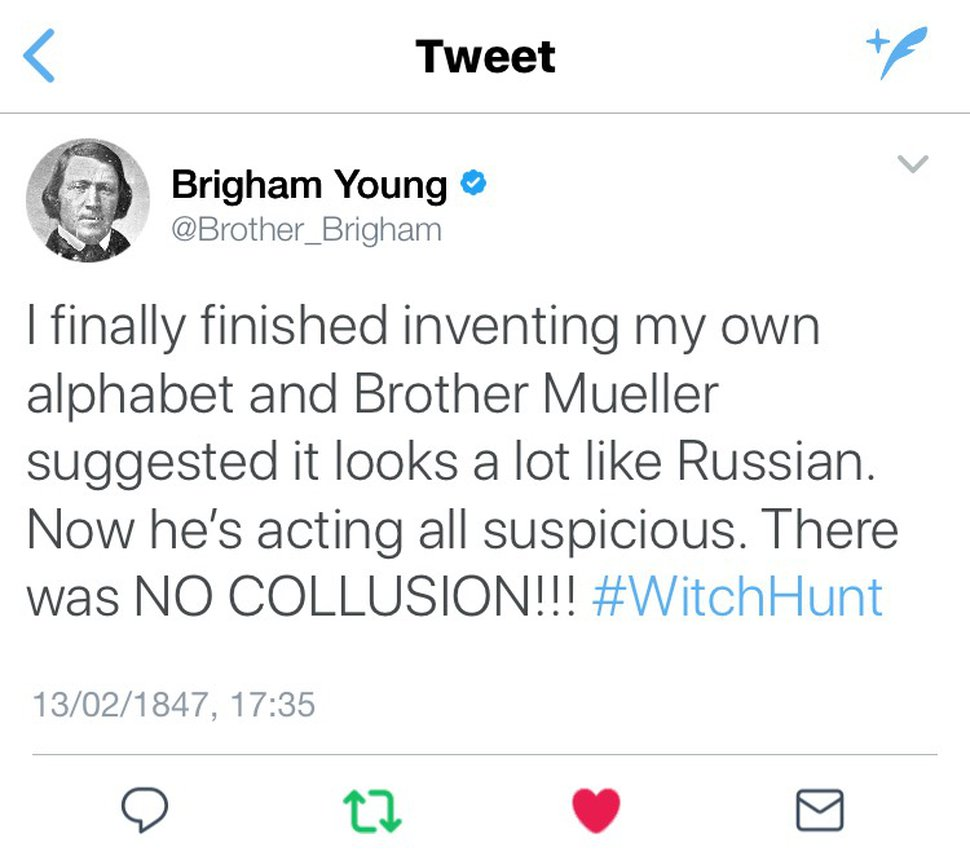 Fake tweets from Brigham Young created for Robert Gehrke's column that published Monday, July 23, 2018.