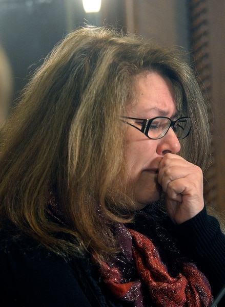 (Al Hartmann | The Salt Lake Tribune) Cynthia Stella is emotional at a press conference in Salt Lake City Thursday Jan. 4 . Her lawyer Tad Draper is filing a federal lawsuit for the death of her daughter, Heather Ashton Miller at the Davis County jail. Miller was arrested early Dec. 20, 2016, on charges related to possession of drug paraphernalia and heroin, held in the Davis County jail less than two days before suffering an injury to her spleen that led to her death in the McKay-Dee Hospital in Ogden.