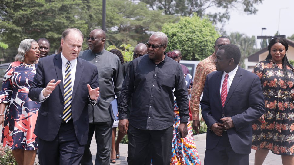 (Photo courtesy of The Church of Jesus Christ of Latter-day Saints) Elder Marcus B. Nash, left, president of the Africa West Area; former Ghanaian President John Dramani Mahama, center; and Elder Edward Dube, right, general authority Seventy, tour church grounds in Ghana on Thursday, Feb 6, 2020.