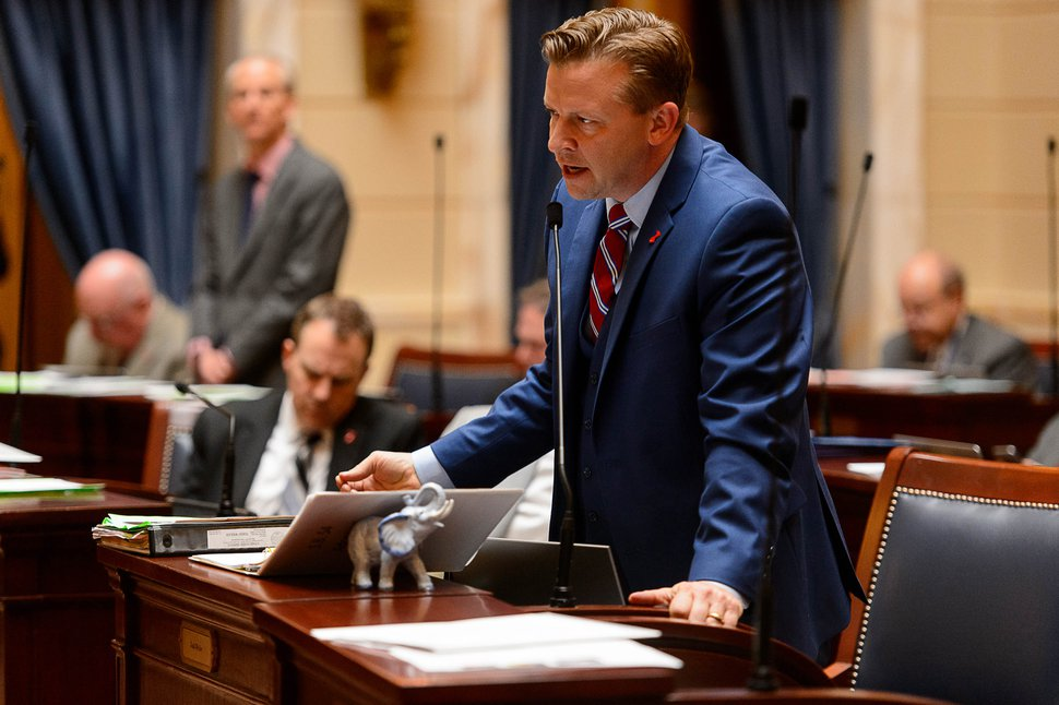 Trent Nelson   The Salt Lake Tribune Sen. Todd Weiler, R-Woods Cross, speaks on HCR11, a bill that would urge the President to rescind the Bears Ears National Monument, during debate in the Senate Chamber in Salt Lake City, Friday February 3, 2017.