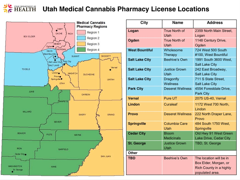 (Courtesy of the Utah Department of Health) State officials released the names and locations of Utah's medical marijuana pharmacies on Friday, Jan. 3, 2020. Some of the pharmacies could be up and running by March 2020.