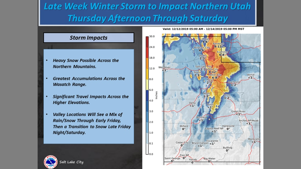 (Courtesy of the National Weather Service) A winter storm is expected to arrive in northern Utah on Thursday.