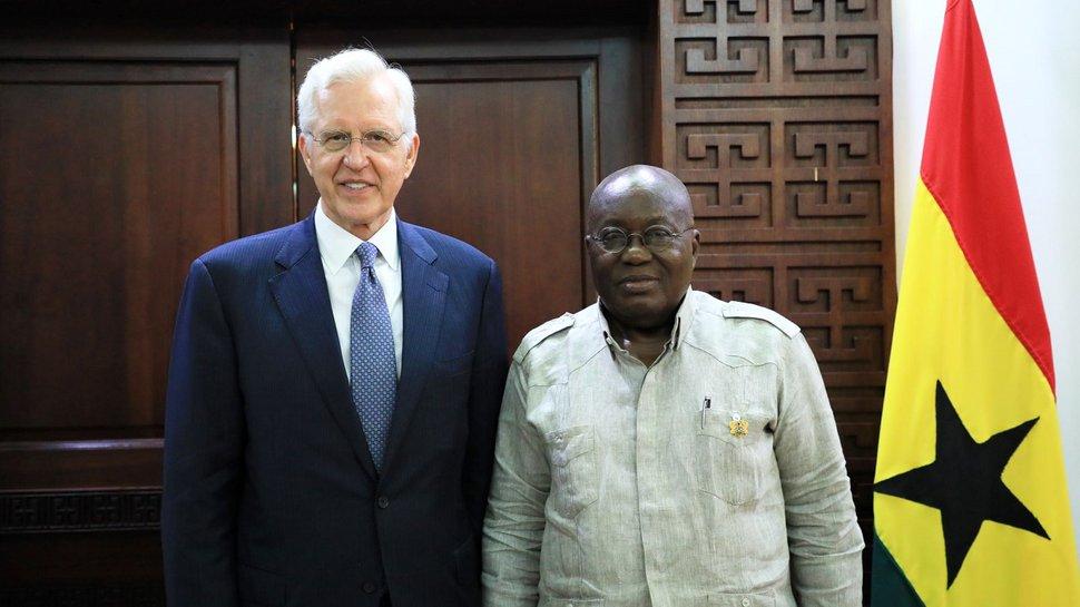 (Photo courtesy of The Church of Jesus Christ of Latter-day Saints) Apostle D. Todd Christofferson with Ghana's president, Nana Addo Dankwa Akufo-Addo.