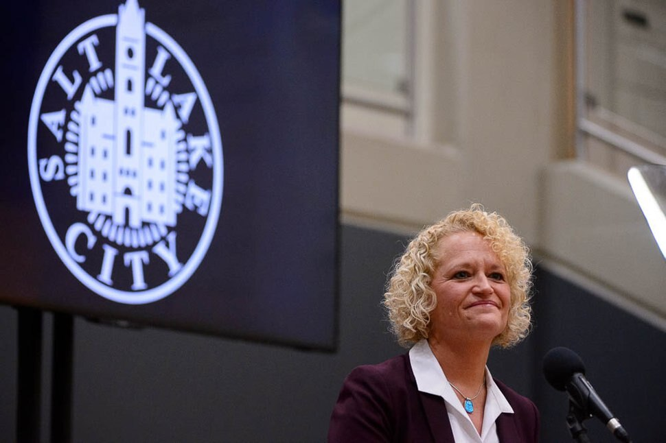 (Trent Nelson | Tribune file photo) Salt Lake City Mayor Jackie Biskupski gives her State of the City address at East High School in Salt Lake City on Thursday Jan. 17, 2019.