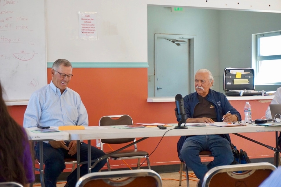 (Zak Podmore | The Salt Lake Tribune) San Juan County Commissioners Bruce Adams (left) and Willie Grayeyes preside over a meeting in Oljato-Monument Valley, Utah, on Tuesday, July 2, 2019. It was the first regular San Juan County commission meeting to be held on the Navajo Nation.