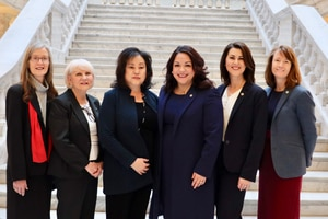 (Courtesy Utah Senate Democrats) This photo shows the six female senators who walked out of the chamber Tuesday night in protest of the mandatory ultrasound bill. From l-r are Sens. Ann Millner, R-Ogden; Karen Mayne, D-West Valley City; Jani Iwamoto, D-Holladay; Luz Escamilla, D-Salt Lake City; Deidre Henderson, R-Spanish Fork; and Kathleen Riebe, D-Cottonwood Heights.