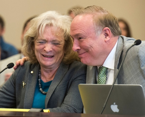 (Rick Egan | The Salt Lake Tribune) Sen. Jim Dabakis gives Gayle Ruzicka, Utah Eagle Forum, a hug, as she speaks in support of his bill, SJR16 during a Senate Education Committee meeting at the Capitol, Friday, March 2, 2018.