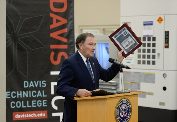 (Francisco Kjolseth | The Salt Lake Tribune) Gov. Gary Herbert holds a press conference to release his proposed 2018 budget at Davis Technical College in Kaysville on Wed. Dec. 13, 2017.