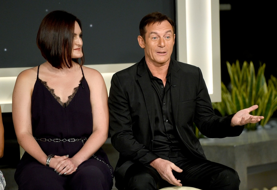 Mary Chieffo, left, and Jason Isaacs participate in the Star: Trek Discovery panel during the CBS Television Critics Association Summer Press Tour at CBS Studio Center on Tuesday, Aug. 1, 2017, in Beverly Hills, Calif. (Photo by Chris Pizzello/Invision/AP)