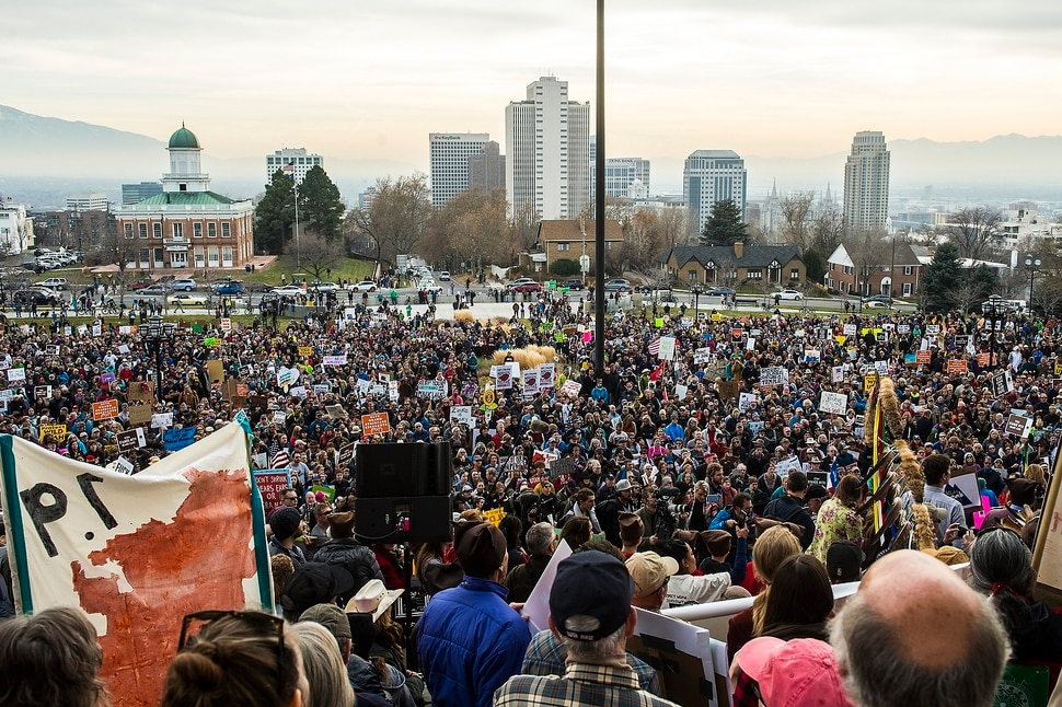 (Chris Detrick | The Salt Lake Tribune) Supporters of the Bears Ears and Grand Staircase-Escalante National Monuments rally at the Utah State Capitol Saturday, December 2, 2017. Utah Highway Patrol estimated 5,000 people attended the rally.