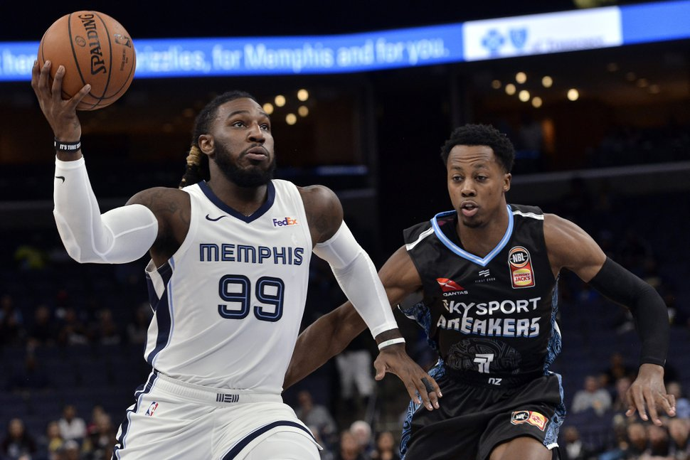 Memphis Grizzlies forward Jae Crowder (99) drives against New Zealand Breakers forward Scotty Hopson (1) in the first half of an exhibition NBA basketball game Tuesday, Oct. 8, 2019, in Memphis, Tenn. (AP Photo/Brandon Dill)