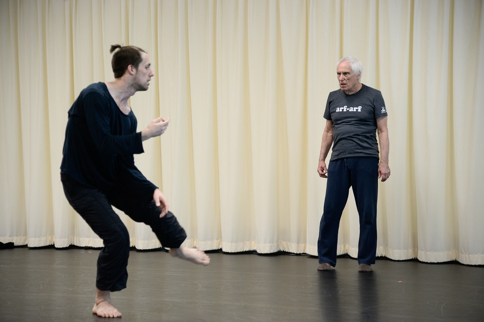 (Francisco Kjolseth | The Salt Lake Tribune) Choreographer Stephen Koester, a Professor as well as Chair in the Department of Modern Dance at the University of Utah works with dancer Brian Nelson at the Rose Wagner Performing Arts Center Black Box Theater recently for an upcoming performance. As he gets ready to retire, this will be his final performance with the Ririe-Woodbury Dance Company.