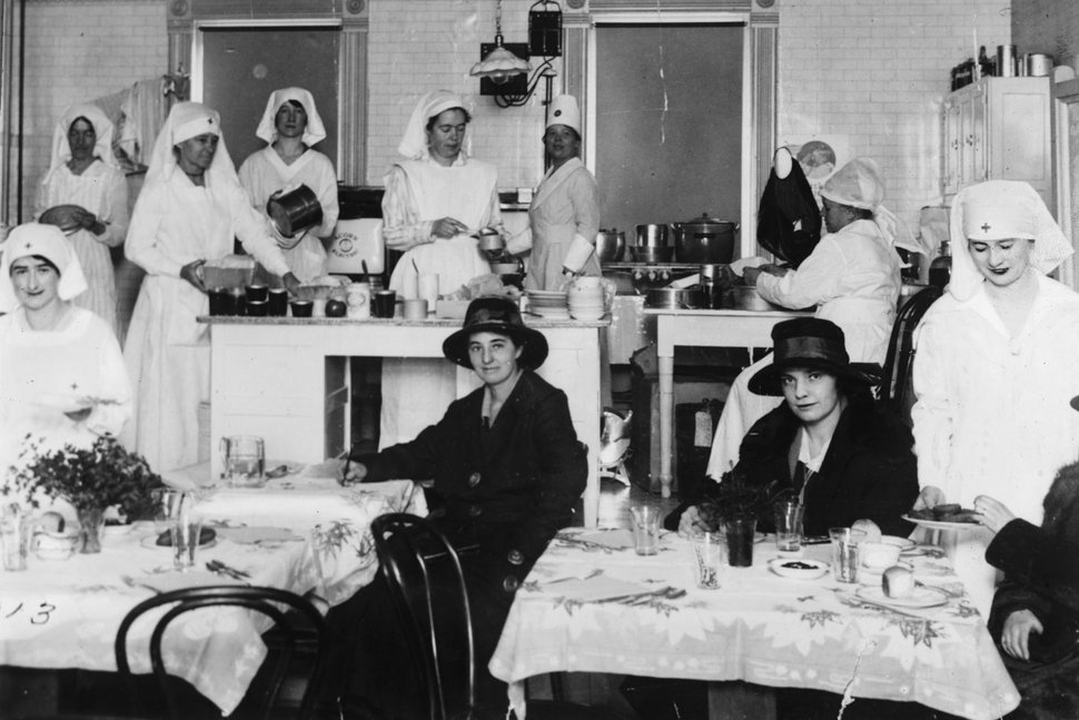 (Photo courtesy of the Library of Congress) Nurses are seen at Red Cross influenza center in Salt Lake City during the 1919 outbreak.