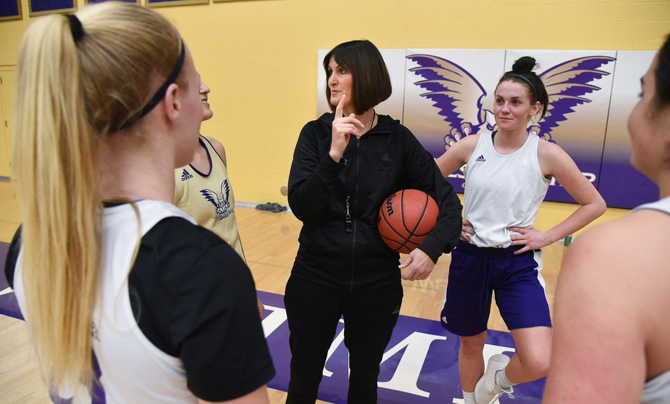 (Francisco Kjolseth | The Salt Lake Tribune) Westminster College women's basketball coach Shelley Jarrard, center, gathers her team during a practice in the Behnken Field House on Tuesday, Ja. 29, 2019.