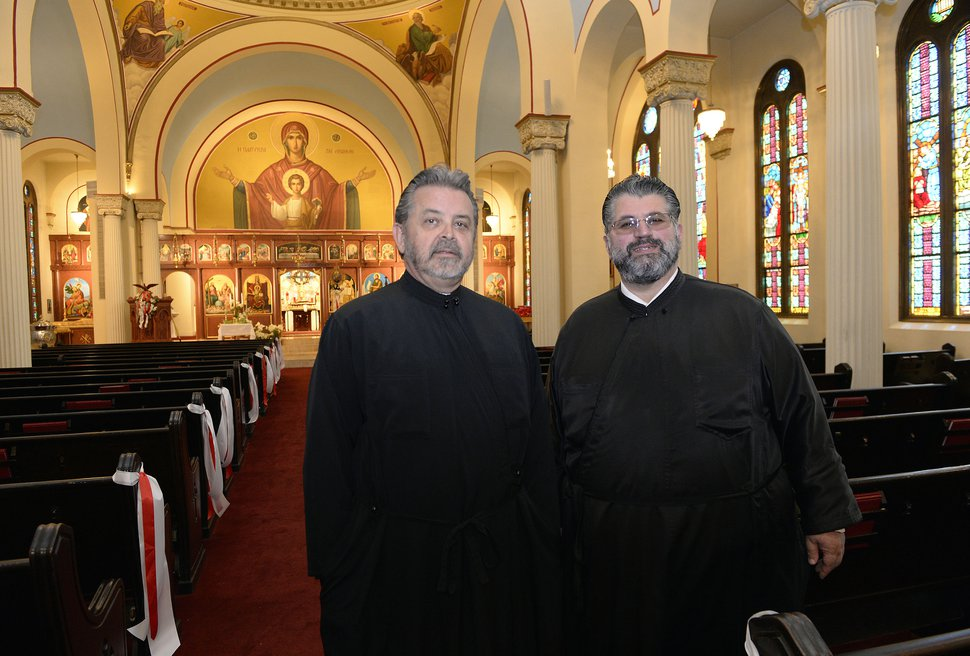 (Al Hartmann | The Salt Lake Tribune) The Rev. Mario Giannopoulos, left, and the Rev. George Nikas were recently appointed to serve Salt Lake City's Holy Trinity Cathedral and Holladay's Prophet Elias Church.
