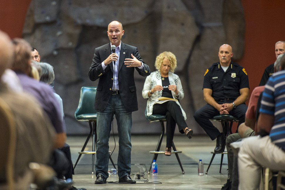 (Chris Detrick | The Salt Lake Tribune) Utah Lieutenant Governor Spencer J. Cox speaks during a public forum about Operation Rio Grande at The Gateway in Salt Lake City Tuesday, August 15, 2017.