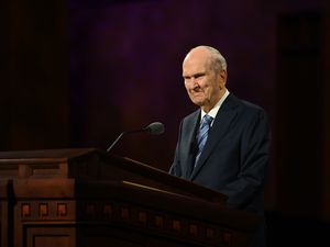 (Photo courtesy of The Church of Jesus Christ of Latter-day Saints) President Russell M. Nelson speaks at the women's session Saturday, Oct. 3, 2020.