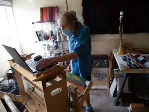 (Francisco Kjolseth  |  The Salt Lake Tribune) John Hess, who messed up his back and ended up in a senior center right as Covid hit, talks about some of the remarkable woven works of art he has created over the past few months on Tuesday, Sept. 22, 2020.