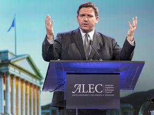 (Leah Hogsten   The Salt Lake Tribune)  Florida Gov. Ron DeSantis addresses The American Legislative Exchange Council annual meeting July 28, 2021 at The Grand America Hotel in Salt Lake City.