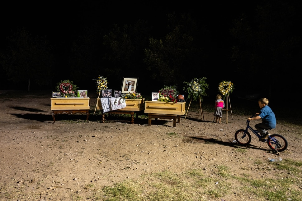 (Trent Nelson | The Salt Lake Tribune) The childrens' caskets and photgraphs on display following the funeral for Maria Rhonita Miller and four of her children in La Mora, Sonora on Thursday Nov. 7, 2019. The children are Howard Jacob Jr., 12; Krystal Bellaine, 10; Titus Alvin Miller, 8 months; and his twin sister, Tiana Gricel.