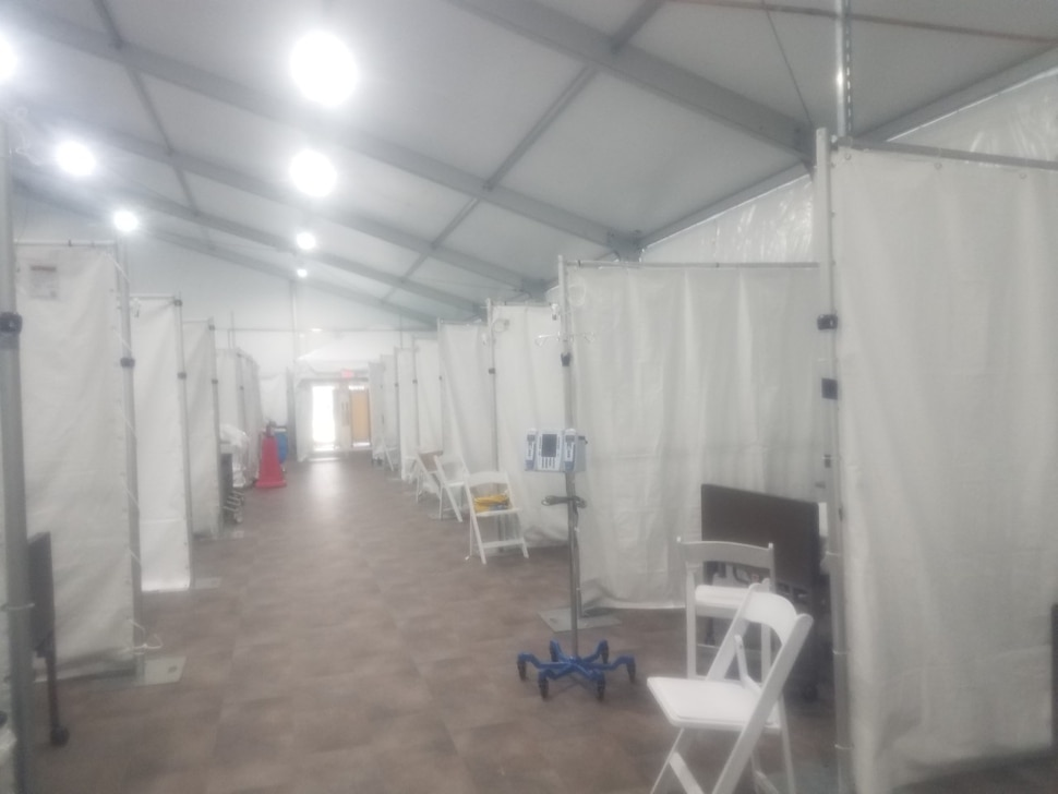 (Photo Courtesy of Dixie Harris) In this photo, Dixie Harris captured what it looks like in the ICU tent where she's working Northwell Health's Southside Hospital in New York.