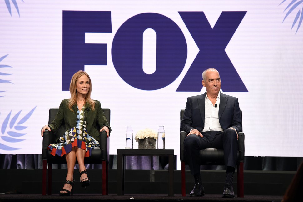 (Photo courtesy of Frank Micelotta/FOX/PictureGroup) Dana Walden and Gary Newman, chairmen and CEOs of the Fox Television Group, address TCA members