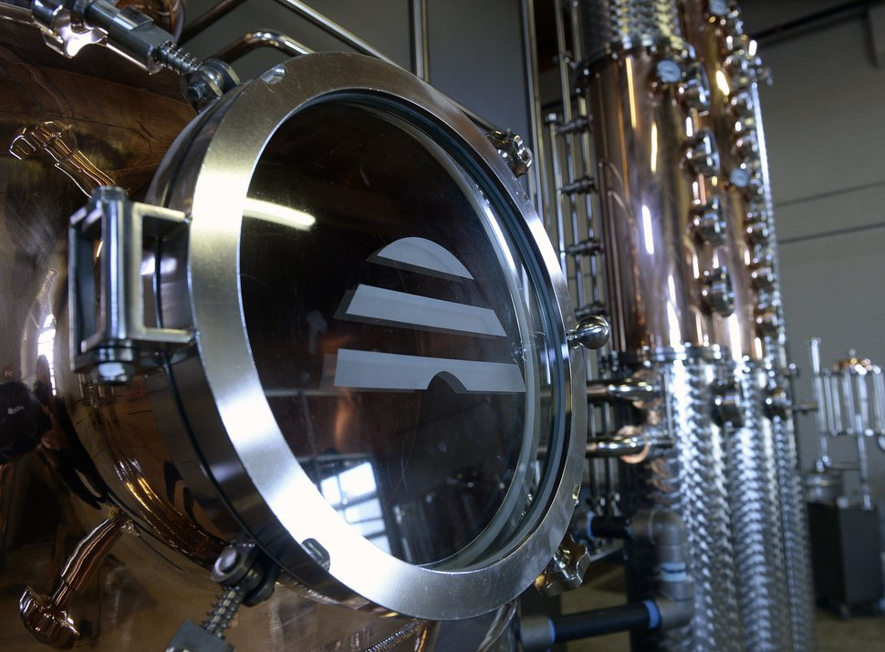 (Al Hartmann | The Salt Lake Tribune) The new 450-gallon copper still at Beehive Distilling's new South Salt Lake location at 2245 S. West Temple. Beehive will continue to make its signature Jack Rabbit gin, but the larger still means it can start producing whiskey and other spirits.