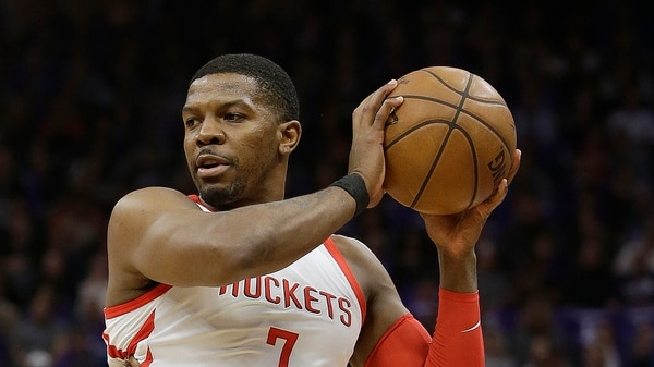 Houston Rockets guard Joe Johnson during the first quarter of an NBA basketball game against the Sacramento Kings, Wednesday, April 11, 2018, in Sacramento, Calif. The Kings won 96-83. (AP Photo/Rich Pedroncelli)