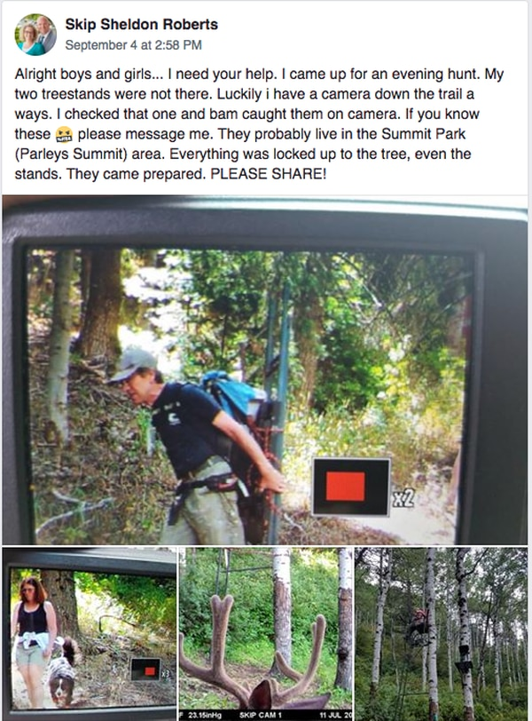 Screenshot of a Facebook post by Skip Sheldon Roberts asking for assistance to find people who took his hunting equipment.