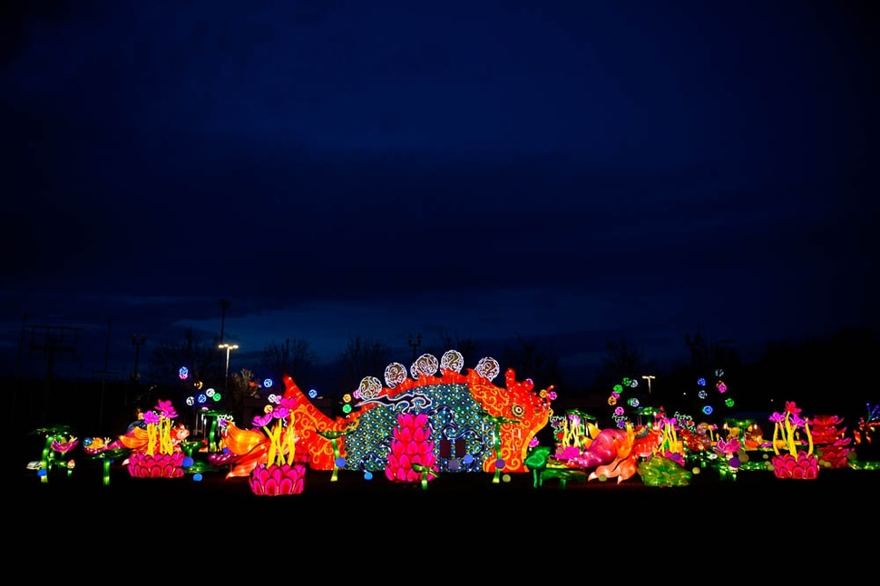 (Trent Nelson | The Salt Lake Tribune) Dragon Lights SLC, part of the China Lights touring festival, opens March 23 and continues through May 6 at the Utah State Fairpark. This international cultural experience includes 39 custom-built illuminated exhibits, traditional Chinese handicrafts, dance and acrobatic performances, and a variety of Chinese food and traditional fair food and beverages. Dragon Lights SLC provides an opportunity for the community to explore the ancient culture of China while learning about China today.