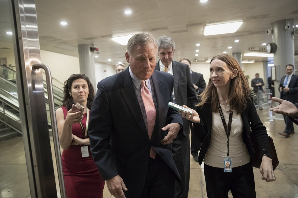 Sen. Richard Burr, R-N.C., chairman of the Senate Select Committee on Intelligence, arrives as House and Senate lawmakers from both parties gather for a classified briefing in a secure room about the federal investigation into President Donald Trump's 2016 campaign, on Capitol Hill in Washington, Thursday, May 24, 2018. (AP Photo/J. Scott Applewhite)