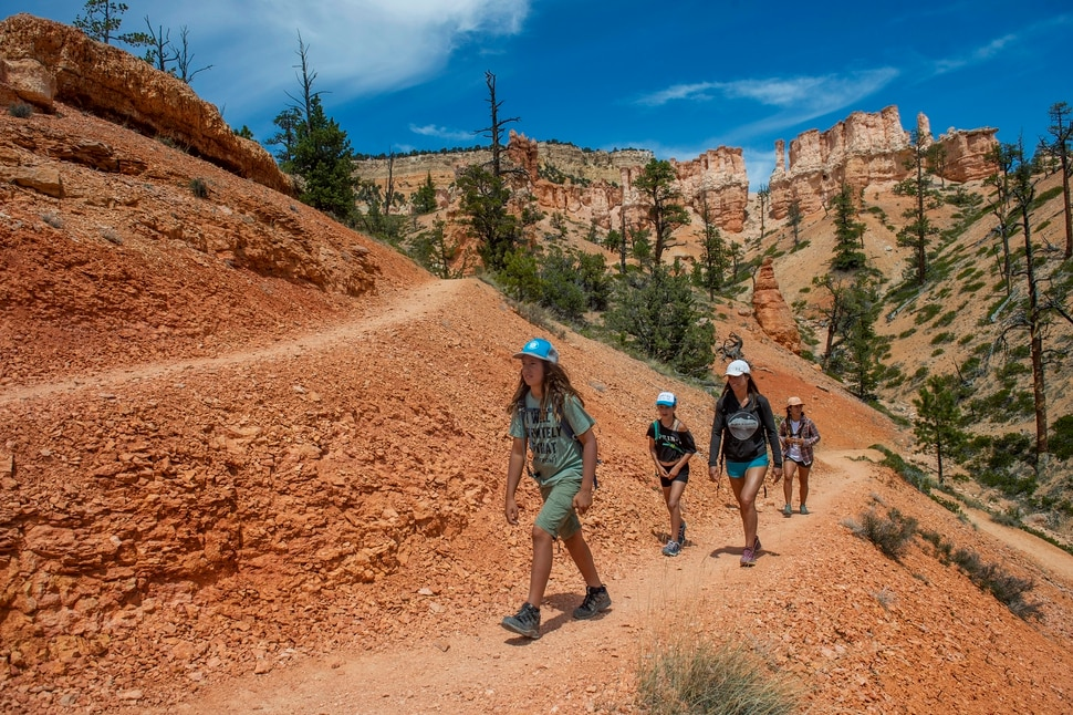 (Rick Egan | The Salt Lake Tribune) Jiriaya Robledo leads the way as Tatiana Robyn, and Isabel Robledo follow along as they hike the Fairyland Trail in Bryce Canyon National Park, Wednesday May 6, 2020.
