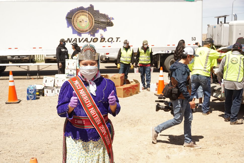 "(Zak Podmore | The Salt Lake Tribune) Shaandiin Parrish, the 2019-2020 Miss Navajo Nation, helped at the food distribution event in Aneth on Thursday. ""Everybody's role is important and crucial,"" she said. ""As Miss Navajo Nation, my role as an ambassador is always first and foremost to be of service to our people. During this pandemic, my role as Miss Navajo doesn't stop; it is within me to continue to serve our people."""