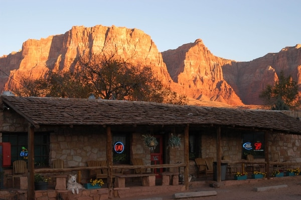 (Tribune File Photo) The Vermilion Cliffs tower over the Lees Ferry Lodge in northern Arizona.