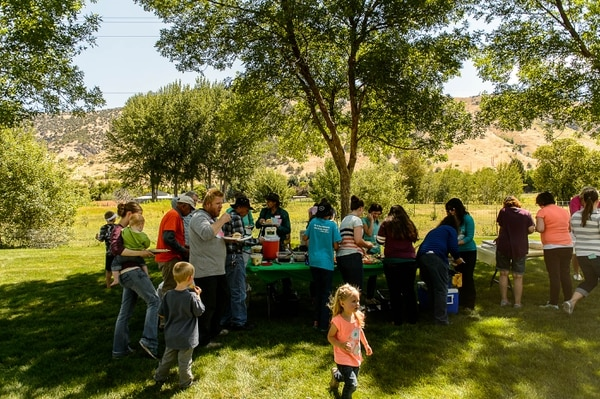 (Trent Nelson | The Salt Lake Tribune) Lunch is served at the Jessop Family International Reunion in Millville Saturday August 12, 2017.