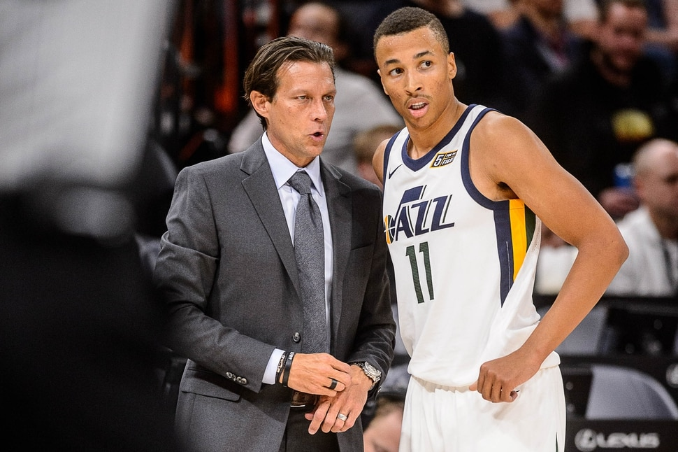 (Trent Nelson | The Salt Lake Tribune) Utah Jazz head coach Quin Snyder and Utah Jazz guard Dante Exum (11) as the Utah Jazz host Maccabi Haifa, preseason NBA basketball at Vivint Smart Home Arena in Salt Lake City Wednesday October 4, 2017.