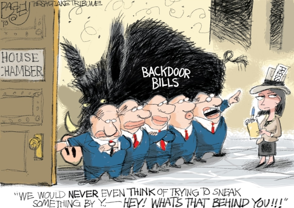 "This Pat Bagley cartoon, titled ""Counting the Minutes"" appears in The Salt Lake Tribune on Thursday, March. 8, 2018."