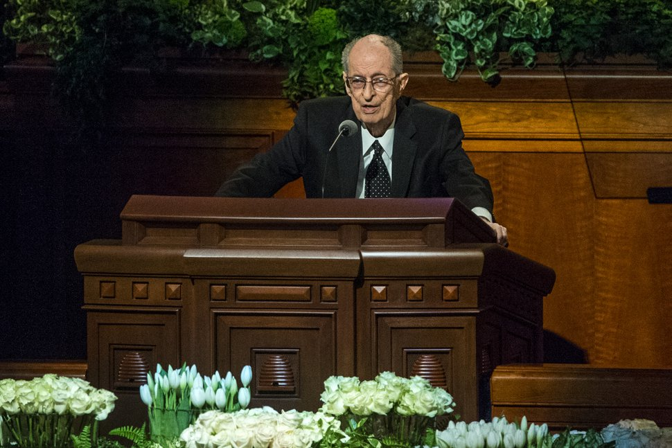 Chris Detrick | The Salt Lake Tribune Elder Robert D. Hales, of the Quorum of the Twelve Apostles, speaks during the afternoon session of the 187th Annual General Conference at the Conference Center in Salt Lake City Saturday, April 1, 2017.