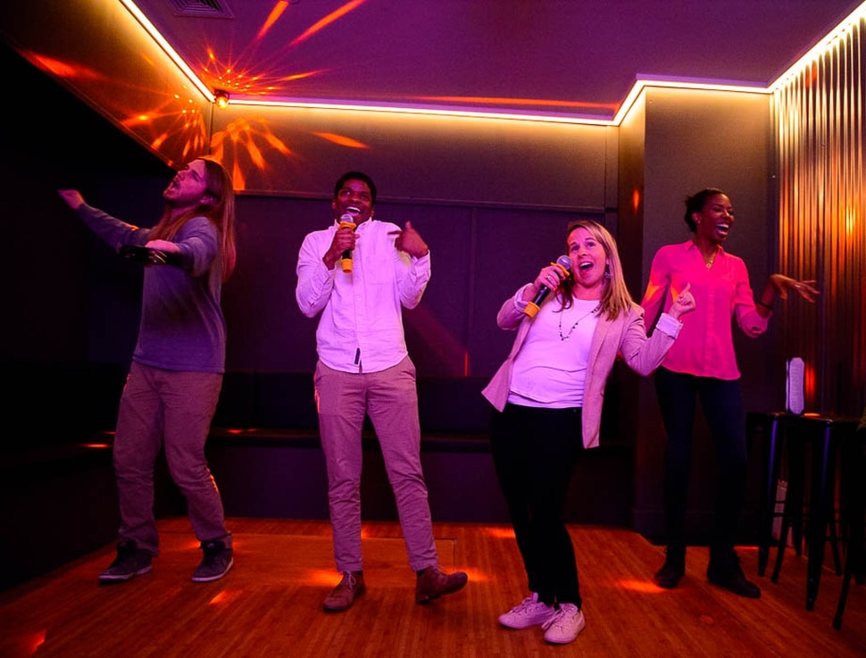 (Trent Nelson | The Salt Lake Tribune) Heart & Seoul Karaoke, a new business in Salt Lake City that has private karaoke rooms that people can rent for singing fun. Left to right are Zach Rowley, Bryan Cooper, Heidi Stevenson, and Liz Adeola on Tuesday March 26, 2019.